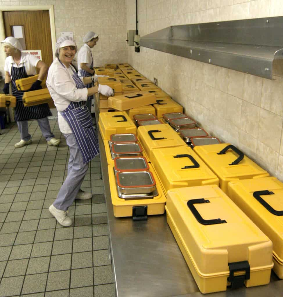 Meals on wheels. Each box means a good hot meal, comfort and a chat for an elderly person