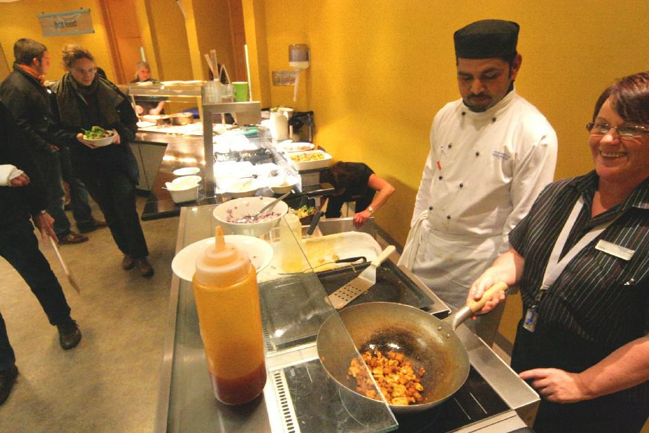 Chef looks tempted by the Varithek chicken stir fry
