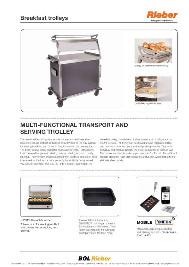 BREAKFAST TROLLEY, MULTI-FUNCTIONAL TRANSPORT AND SERVING