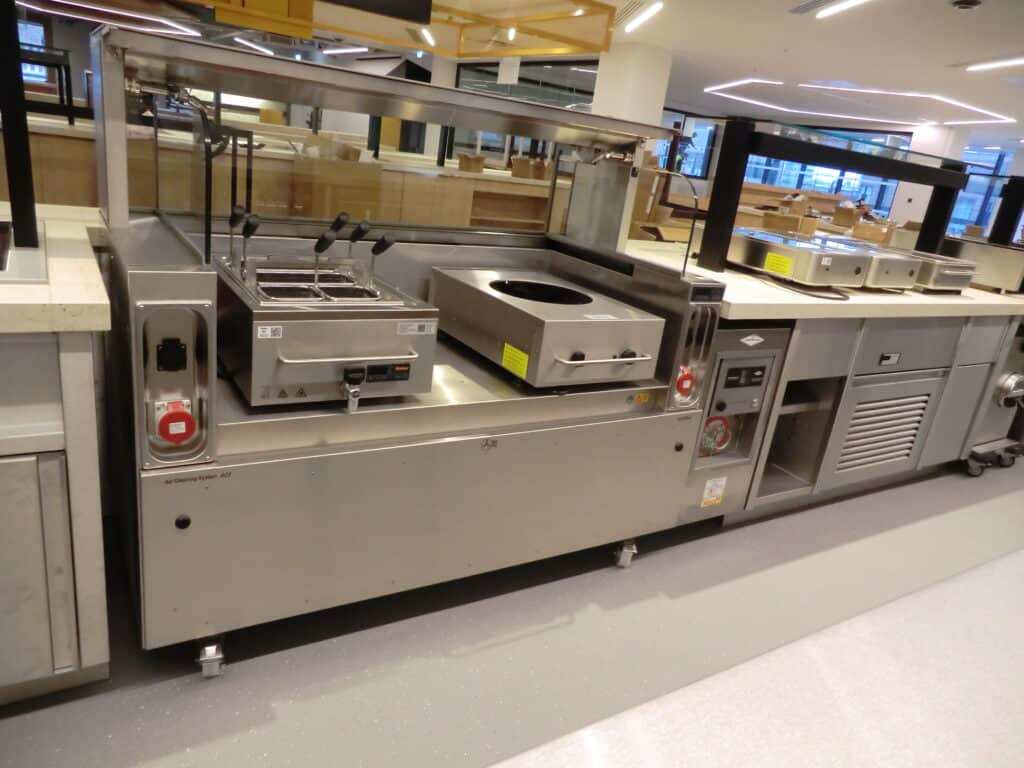 varithek front cooking station with induction wok and pasta cooker